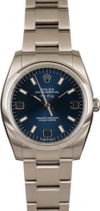 Unworn Rolex Oyster Perpetual 114200 Blue Dial Steel Watch