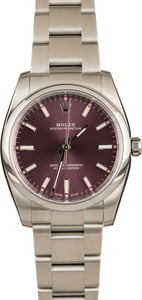 Pre-Owned Rolex Oyster Perpetual 114200 Red Grape Dial