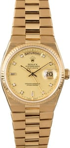 Rolex OysterQuartz Day-Date 19018 Yellow Gold Integral Bracelet