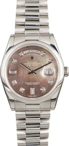 Rolex Day-Date 118206 Platinum President Diamond Black MOP Dial
