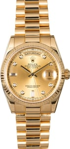 Rolex President 118238 Champagne Diamond Dial