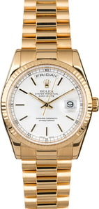 Certified Rolex President 118238 White Index Dial