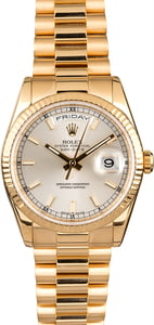 Rolex Day-Date 118238 Silver Luminescent Dial