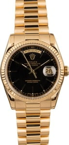 Pre Owned Rolex President 118238 Black Index Dial