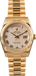 Pre-Owned Rolex President 118238 Ivory Pyramid Roman Dial
