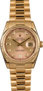 Pre-Owned Rolex 118238 President Pink Diamond Dial