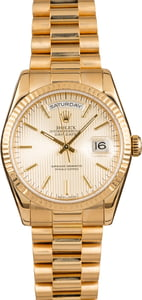 Rolex President Gold Day-Date 118238 Silver Tapestry Dial
