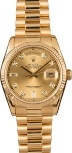 Pre-Owned Rolex President 118238 Champagne Diamond Dial