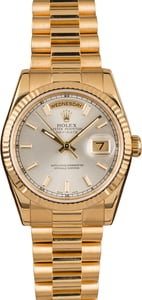 Pre-Owned Rolex President 118238 Silver Luminous Dial