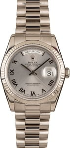 Pre-Owned Rolex President 118239 White Roman Dial