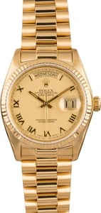 Pre Owned Rolex President 18038 Champagne Roman