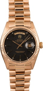 PreOwned Rolex President Rose Gold 1803 Black Dial