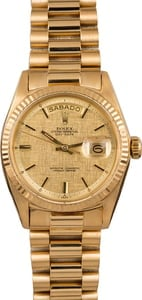 Pre Owned Rolex President Day-Date 1803 Linen Dial