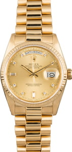 Rolex President 18038 Diamond Dial Certified Pre-Owned