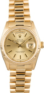 Pre Owned Rolex President 18038 Champagne Index Dial