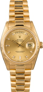 Pre Owned Rolex President 18038 Diamond Dial