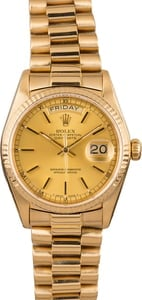 Pre Owned Rolex Champagne President 18038