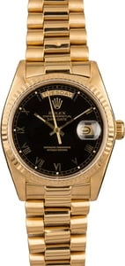 Used Rolex President 18038 Black Roman Dial