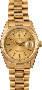 Pre-Owned Rolex President 18038 Champagne Dial Watch