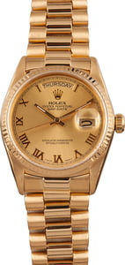 Pre Owned Rolex President Day-Date 18038 Roman Dial