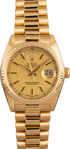 Used Rolex Day-Date 18038 Linen Dial 18K Gold President