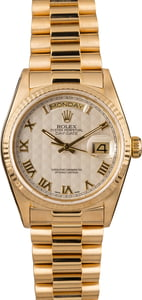 Used Rolex President 18038 Silver Pyramid Dial