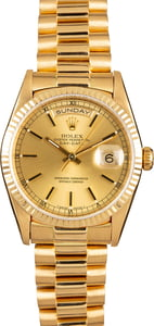 Pre Owned Rolex President 18038 Yellow Gold Bracelet