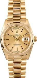 Rolex President 18038 Yellow Gold Certified Pre-Owned