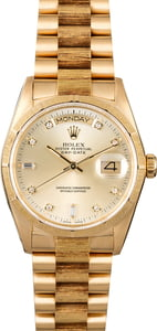 Rolex Day-Date 18078 Diamond Dial Barked President