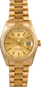 Pre Owned Rolex President Bark Finish Day Date 18078