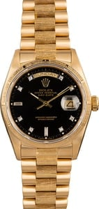 Pre Owned Rolex President 18078 Bark Finish Diamond Dial