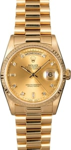 Rolex President 18238 Champagne Diamond Dial