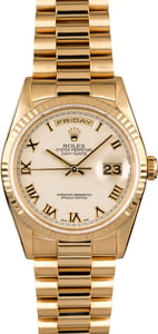 Rolex President 18238 Ivory Pyramid Roman Dial