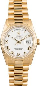 Pre owned Rolex President 18238 White Roman Dial