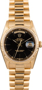 PreOwned Rolex Day-Date President 18238 Black Dial