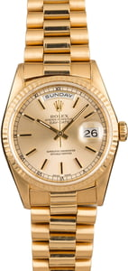 PreOwned Rolex President 18238 Champagne Index Dial