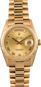 Pre Owned Rolex Gold President 18238 Roman Dial