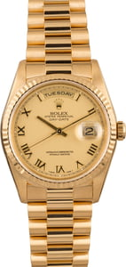 Pre Owned Rolex Gold President 18238 Champagne Roman