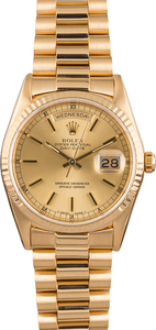 Pre Owned Rolex President 18238 Day-Date Fluted Bezel