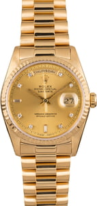 Pre Owned Rolex President 18238 Champagne Diamond Dial