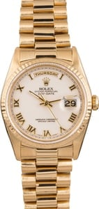 Used Rolex President 18238 White Roman Dial