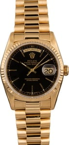 Pre-Owned Rolex President 18238 Black Dial