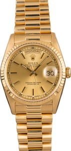 Pre-Owned Rolex 36MM President 18238 Champagne Dial