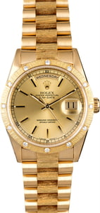 Rolex President 18308 Bark Finish Bezel with Diamonds
