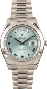 Rolex Platinum Day-Date II Ice Blue Dial 218206