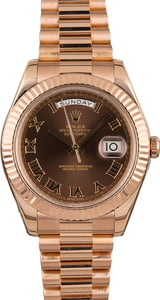 Rolex Day-Date 218235 Everose Gold President Chocolate Dial
