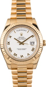 Rolex Day-Date II 218238 White Roman 41MM Pre Owned