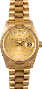 Rolex President Bark Finish 18078 Diamond