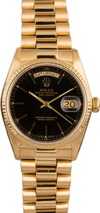 Pre-Owned Rolex President 18038 Index Black Dial