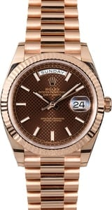 Unworn Rolex President Everose Gold 228235 Chocolate Dial
